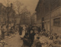 Works on Paper, LÉON-AUGUSTIN LHERMITTE (French, 1844-1925). Les Abords des Halles. Charcoal on paper laid on board. 14-1/2 x 18-1/4 inc...