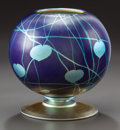 Art Glass:Other , DURAND GLASS GLOBULAR FOOTED VASE. Circa 1930. 5-7/8 inches high(14.9 cm). ...