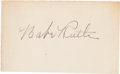 Autographs:Others, Circa 1930 Babe Ruth Signed Blank Business Card....