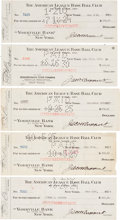 Autographs:Checks, 1924-30 New York Yankees Signed Payroll Checks Lot of 5....