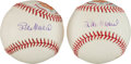 Autographs:Baseballs, Circa 2010 Stan Musial Single Signed Portrait Baseballs Lot of2....