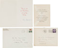 Autographs:Celebrities, Neil Armstrong Signed 1969 Christmas Card with Hand-Addressed Envelope, also His 1956 Wedding Invitation.... (Total: 4 Items)