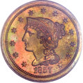 Proof Large Cents, 1857 1C Small Date PR65 Brown PCGS. CAC. N-3, Low R.5....