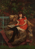19th Century European, CHARLES HAIGH WOOD (British, 1856-1927). Portrait of a Young Girl Reading, 1883. Oil on canvas. 60-1/4 x 43-1/4 inches (...