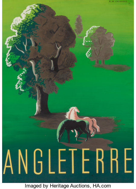 CASSANDRE (French, 1901-1968) Angleterre, 1934 Gouache maquette 30-1/2 x 22-1/2 inches (77.5 x 57.2 cm) (sight) Sign...