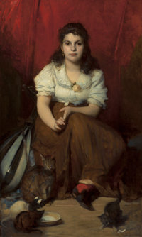 FRANZ RUMPLER (German, 1848-1922) Portrait of a Young Girl with a Mandolin and Cats Oil on canvas