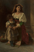 Paintings, CARL LUDWIG FRIEDRICH BECKER (German, 1820-1900). Mother and Child, 1878. Oil on canvas. 43-1/4 x 31-1/4 inches (109.9 x...