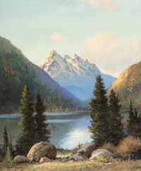 ROBERT WILLIAM WOOD (American, 1889-1979) Mountain Majesty, 1954 Oil on canvas 30 x 25 inches (76