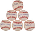 Autographs:Baseballs, Ted Williams Single Signed Baseballs Lot of 6 from The Stan MusialCollection....