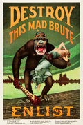 "Movie Posters:War, World War I Propaganda (U.S. Government, 1917). Recruitment Poster (28"" X 42"") ""Destroy This Mad Brute."". ..."