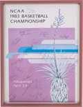 Basketball Collectibles:Others, 1983 University of North Carolina State Team Signed Poster With Jim Valvano....