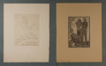 """Books:Prints & Leaves, Pair of Original Austrian Birth Announcement Prints. 10"""" x 13"""" overall. Mounted to larger backing sheets. Signed by the arti..."""