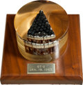 Explorers:Space Exploration, Gemini 2 Flown Heat Shield Plug in Lucite Display on Wooden Base. ...