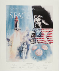 """Robert Rasmussen Large Limited Edition """"Naval Aviation in Space"""" Lithograph Signed by Nine Naval Astronauts..."""