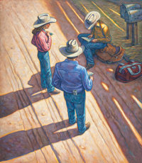 HOWARD POST (American, b. 1948) Receiving the News Oil on canvas 48-1/2 x 42 inches (123.2 x 106