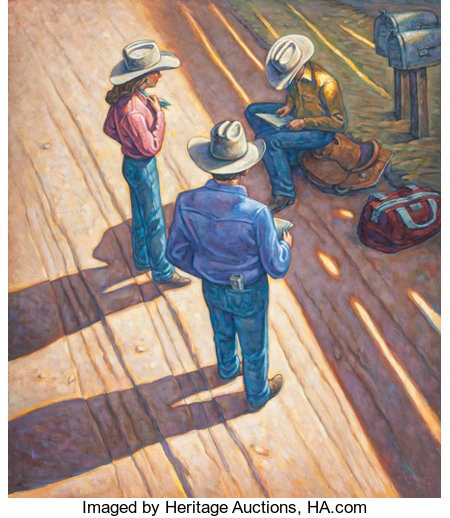 HOWARD POST (American, b. 1948)Receiving the NewsOil on canvas48-1/2 x 42 inches (123.2 x 106.7 cm)Signed lower ...