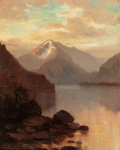 Paintings, HAMILTON HAMILTON (American, 1847-1928). Sunset in the Rocky Mountains. Oil on canvas. 10 x 8 inches (25.4 x 20.3 cm). S...