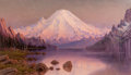 Western:20th Century, JAMES EVERETT STUART (American, 1852-1941). Sunset, Mt. Tacoma from Crater Lake, Washington, 1893. Oil on canvas. 24 x 4...