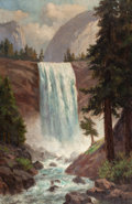 American:Western, CHRISTIAN JORGENSEN (American, 1860-1935). Vernal Fall,Yosemite. Oil on canvas. 40 x 26 inches (101.6 x 66.0 cm).Signe...