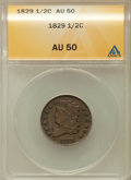 1829 1/2 C AU50 ANACS. NGC Census: (9/218). PCGS Population (25/195). Mintage: 487,000. Numismedia Wsl. Price for proble...