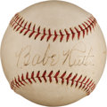 Autographs:Baseballs, 1940's Babe Ruth Single Signed Baseball, PSA/DNA EX-MT 6....