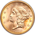Liberty Double Eagles, 1857-S $20 Spiked Shield MS66 PCGS. CAC. Variety 20A....