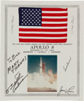 Explorers:Space Exploration, Apollo 8 Flown Flag on Certificate Signed by Mission Lunar ModulePilot Bill Anders. ...