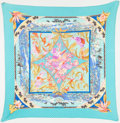 "Luxury Accessories:Accessories, Hermes Aqua & Pink ""Tropiques,"" by Laurence Bourthoumieux SilkPlisee Pleated Scarf. ..."