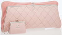 Chanel Pale Pink Quilted Lambskin Leather Oversize Clutch
