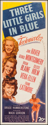 "Three Little Girls in Blue (20th Century Fox, 1946). Insert (14"" X 36""). Musical"
