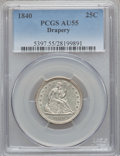 Seated Quarters, 1840 25C Drapery AU55 PCGS. PCGS Population (3/21). NGC Census:(3/19). Mintage: 188,127. Numismedia Wsl. Price for problem...