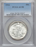 Walking Liberty Half Dollars: , 1916 50C AU58 PCGS. PCGS Population (144/1166). NGC Census:(95/997). Mintage: 608,000. Numismedia Wsl. Price for problem f...