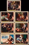 "Movie Posters:Exploitation, What Price Decency (Equitable Pictures, 1933). Title Lobby Card andLobby Cards (6) (11"" X 14""). Exploitation.. ... (Total: 7 Items)"