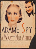 """Movie Posters:Action, Madame Spy (Universal, 1934). Trimmed Window Card (12"""" X 16""""). Action.. ..."""