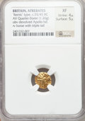 Ancients:Celtic, Ancients: BRITAIN. Atrebates. Ca. 55/45 BC. AV quarter stater (1.26gm)....