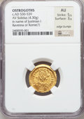 Ancients:Byzantine, Ancients: OSTROGOTHS. Uncertain King. Ca. AD 530-539. AV solidus(19mm, 4.30 gm, 6h)....