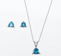 Estate Jewelry:Suites, Blue Topaz, White Gold Jewelry Suite. ... (Total: 2 Items)