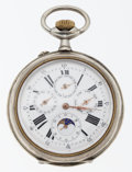 Timepieces:Pocket (post 1900), Swiss Rare Fancy Calendar & Moon Phase Dial Pocket Watch. ...
