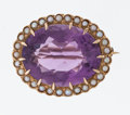 Estate Jewelry:Brooches - Pins, Amethyst, Seed Pearl, Gold Pendant Brooch, Kohn. ...