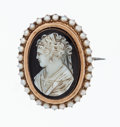 Estate Jewelry:Brooches - Pins, Hardstone Cameo, Seed Pearl, Gold, Metal Brooch. ...