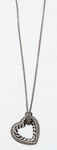 Estate Jewelry:Necklaces, Diamond, Sterling Silver Cable Heart Necklace, David Yurman. ...