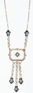Estate Jewelry:Necklaces, Rock Crystal Quartz, Synthetic Sapphire, Diamond, White Gold Necklace. ...
