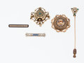 Estate Jewelry:Brooches - Pins, Multi-Stone, Enamel, Gold Brooches and Stick Pins. ... (Total: 5Items)