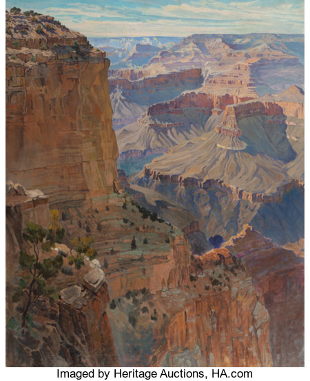 GUNNAR MAURITZ WIDFORSS (Swedish, 1879-1934)Grand CanyonOil on canvas30 x 24 inches (76.2 x 61.0 cm)Inscribed ve...