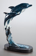 Sculpture, LARAN GHIGLIERI (American, 20th Century). Dolphins, 1994. Bronze with polychrome. 18 x 12 x 8 inches (45.7 x 30.5 x 20.3...