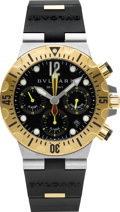 Timepieces:Wristwatch, Bulgari SC 40 SG Two Tone Diagono Professional Diver's Chronograph....