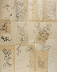 Garth Williams (1912-1996), illustrator. Lot of Fifteen (15) Original Preliminary Pencil Sketches From The Tall