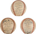 Autographs:Baseballs, 1952-54 St. Louis Cardinals & Cincinnati Reds Team SignedBaseballs Lot of 3....