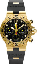 Timepieces:Wristwatch, Bulgari SC 40 G 18k Gold Diagono Professional Diver's Chronograph. ...
