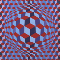 VICTOR VASARELY (French, 1908-1997) CHEYT-N, 1981 Acrylic on canvas 28 x 28 inches (71.1 x 71.1 c